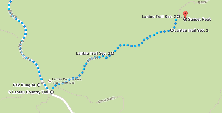 Start of the trail from Pak Kung Au to Sunset Peak