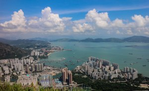 over looking Tuen Mun and Kowloon and Central in the distance